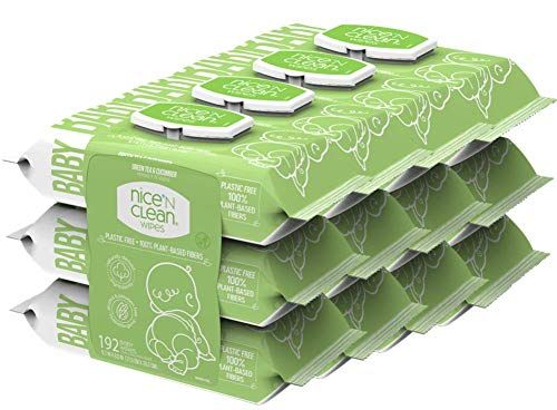 Nice 'n Clean Scented Baby Wipes (768 Total Wipes) | Suitable for Sensitive Skin on Hands, Face, Bottom | Made w/Plant-Based Fibers | Green Tea Cucumber Scent