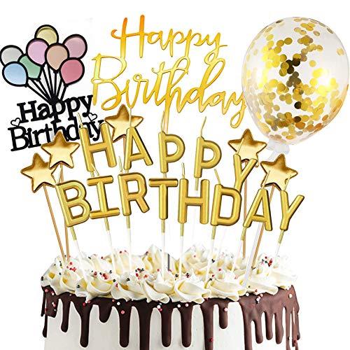 Sunshine smile Happy Birthday Cake Topper, Tortendeko Geburtstag, Konfetti Luftballon Kuchendeko, Tortendeko Kerzen Sterne, Tortenstecker, Tortenaufsatz, Kuchendekoration Geburtstag (Golden)