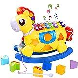 STOTOY Baby Xylophon Spielzeug, 5 in 1 Einstein Musikspielzeug 12-18 Monate, Baby Musikspielzeug mit Bausteinen, pädagogisches Kleinkindspielzeug für 1-2 Jahre altes Mädchen Junge Geburtstagsgeschenk