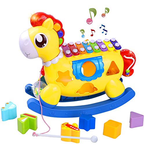 STOTOY 5 in 1 Xylophone Toy, Baby Einstein Toys 6 to 12 Months, Toddler Music Toy W/ Lights & Sound, Learning & Educational Kids Birthday Gift Toy for 1-2 Year Old Girl Boy