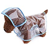 2PCS Transparente El plastico Perro Impermeable con Capucha Poncho Transparente Lluvia Capa para Pequeña Perros Impermeable Perrito Gatos Mascotas,Blue,XS