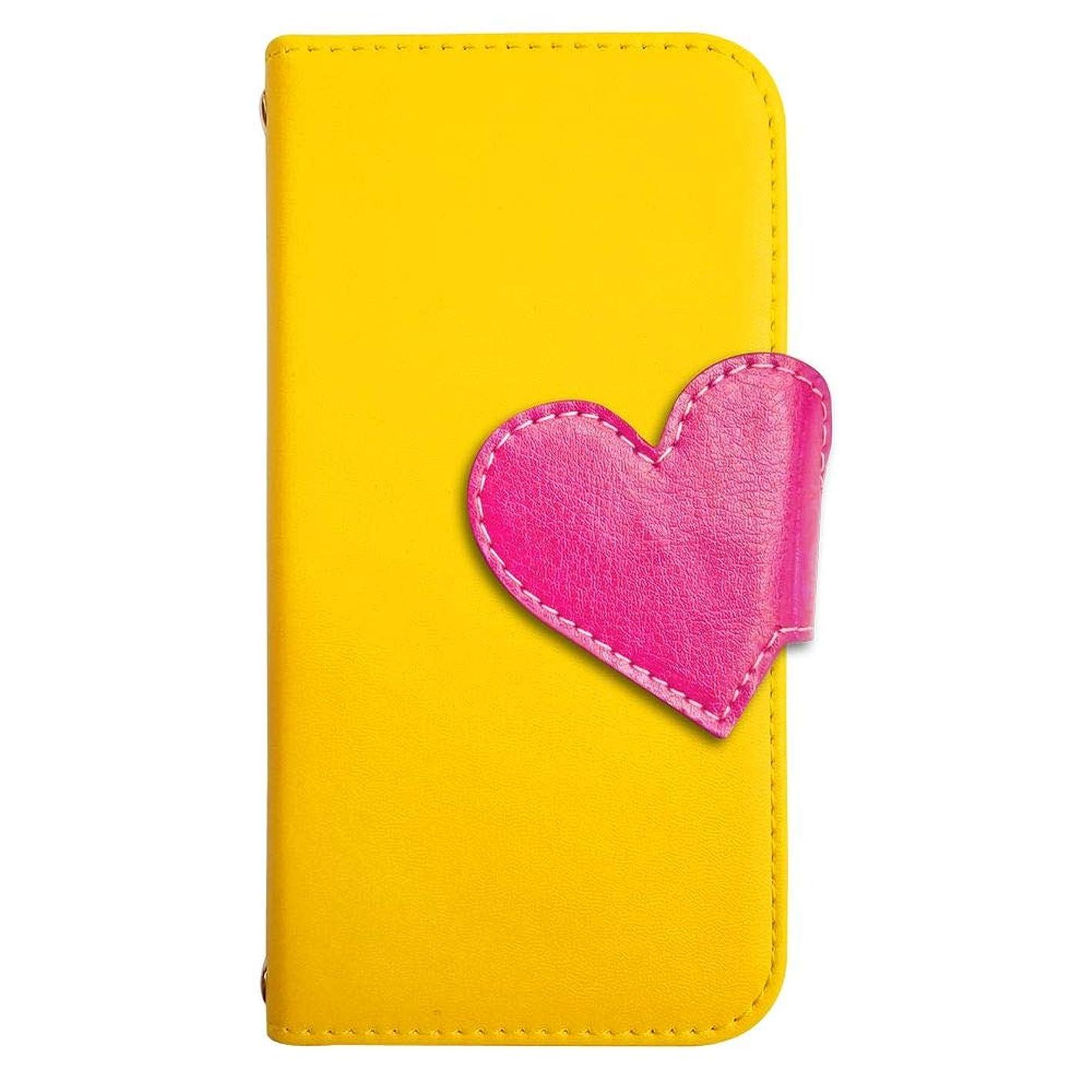どういたしまして研究所考案するsslink iPodTouch5 アイポッドタッチ5 ケース 手帳型 スマホケース ハート(ローズ) ベルト きせかえ belty おしゃれ (カバー色イエロー) ダイアリータイプ 横開き カード収納 フリップ カバー スマートフォン