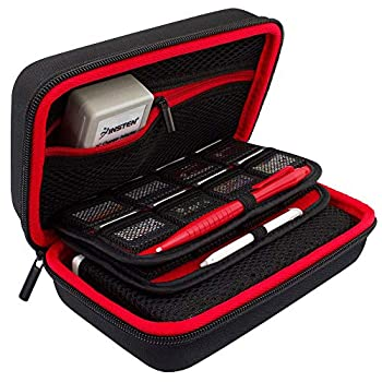 TAKECASE Hard Shell Carrying Case - Compatible with Nintendo 3DS XL and 2DS XL - Fits 16 Game Cards and Wall Charger - Includes Removable Accessories Pouch and Extra Large Stylus Red