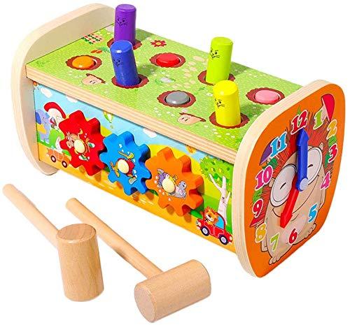 Arkmiido Hammerspiel Spielzeug ab 1 Jahr, 5 in 1 pädagogische Vorschule Lernen Holzspielzeug Peg Pounding Bank Spielzeug Geburtstagsgeschenk für Kinder Baby 1 2 3 Jahre