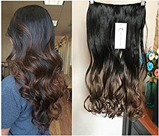 20 Inches Half Head One Piece Long Wavy Clip in Hair Extensions Ombre 2 Tones DL (Natural black to chocolate brown)