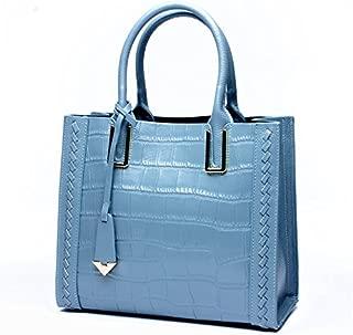 Leather 2018 New Ladies Handbag Top Layer Leather Handbag Simple Fashion Leather Shoulder Messenger Wallet Waterproof (Color : Blue, Size : M)