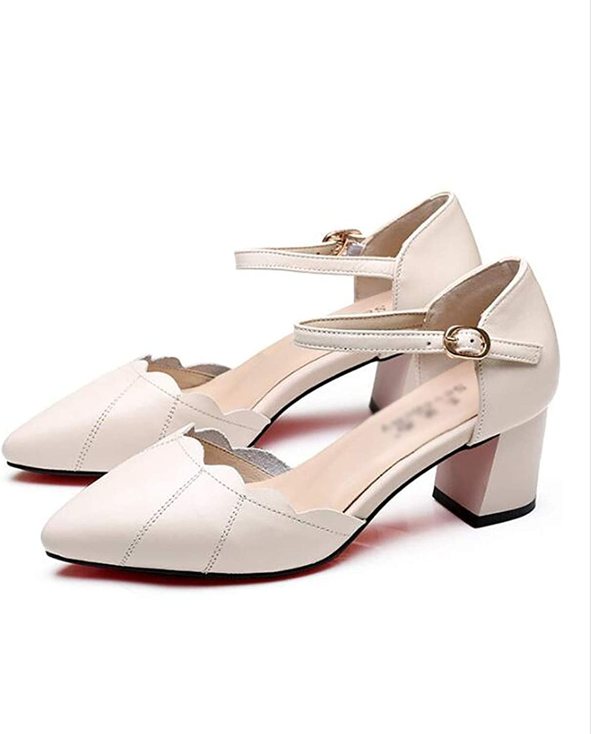 Women's shoes, Thick Heel, Middle Heel, one Buckle, Single shoes, Women's Thick, Comfortable shoes (color   A, Size   34)