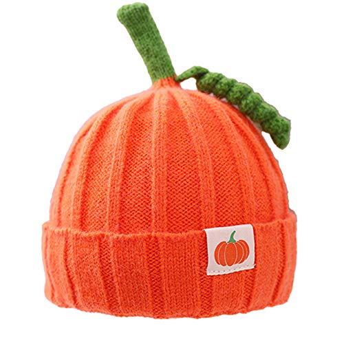NIDAYE Gorro de punto para bebé con patrón de calabaza, para invierno, de ganchillo, gorro de punto (naranja)