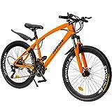 Outroad Mountain Bike 26 inch Wheel 21 Speed Double Disc Brake Suspension Springer Fork, Orange