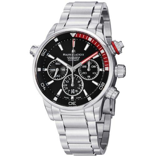 Maurice Lacroix Herren-Armbanduhr PT6018-SS002330 Pontos, schwarzes Chronograph-Zifferblatt