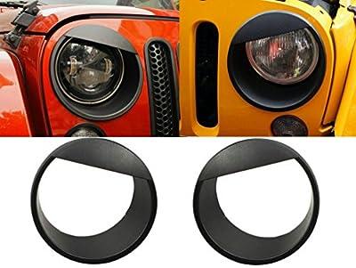 Opall Black Bezels Front Light Headlight Angry Bird Style Trim Cover for Jeep Wrangler JK JKU Rubicon Sahara 2007-2018