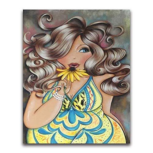 Vefvce Kits de Pintura de Diamantes para Adultos Mujer Gorda Punto de Cruz Bordado de Diamantes Diamantes de imitación Artesanía Decoración de Pared Decoraciones de Pared Taladro Cuadrado 40 × 50cm
