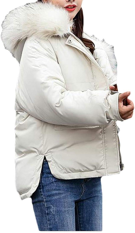 Cromoncent Women Loose Hoody Pocket Fleece Down Short Jacket Anoraks Parka Coat