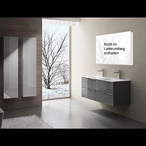 doporro Conjunto de Mueble de baño de diseño Vanessa en Gris Brillante, 4 Piezas, Lavabo, Mueble bajo y Mueble Lateral Izquierdo y Derecho | Ancho:120cm
