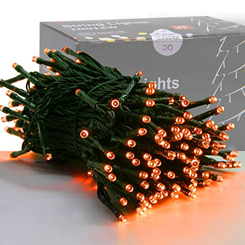 Home Lighting 66FT 200 LED Indoor Halloween String Lights, Plug in Green Wire String Light, 8 Lighting Modes Waterproof Fairy Mini Lights for Outdoor Christmas Wedding Party Decorations (Orange)