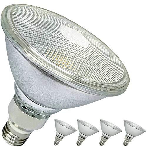 16W PAR38 LED Flood Light,Daylight White,Full Glass Lamp Body,Waterproof,120W PAR38 Halogen Bulb Equivalent,Bright White Light 5000K,1400 Lumens,Outdoor/Indoor,E26,120 Volts,4-Pack