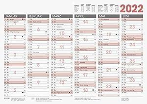 Tafelkalender 2022; A3 quer Aufteilung: 1 Seite = 6 Monate zweifarbiger Druck hochwertiger, kräftiger Karton mit Tageszählung und Ferienterminen
