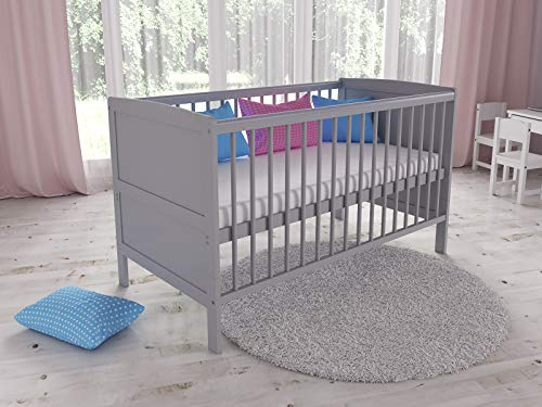 TIMON Convertible Wooden Baby Cot Bed + Deluxe Foam Mattress with Antibacterial Aloe Vera Cover (Grey)