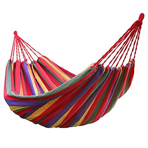 Hamaca de Jardín al Aire Libre Cama Portátil de Lona con Cuerdas para Acampar Bolsa para Jardín Patio Trasero Playa Individual Columpio de Dormitorio,Rojo,260 * 80cm