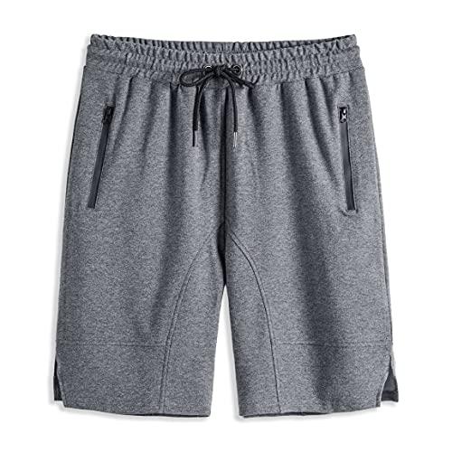 MUSE FATH Mens Cotton Casual Elastic Waist Classic Fit Active Shorts with Zipper Pocket-MFTK79Grey-XXL