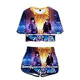 WWZY Camiseta Manga Corta y Pantalones Cortos para Mujer, Naruto Impresión 3D Uzumaki Naruto y Uchiha Sasuke Trajes de Anime Conjuntos de 2 Piezas T-Shirt y Shorts Set,Azul,XXL