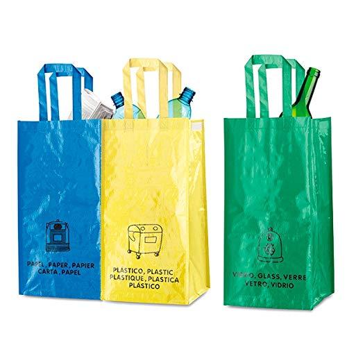 LCQI Bolsas Reciclaje Basura Colores Residuos Reutilizables Set 3