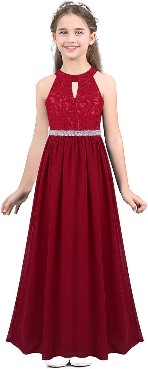 inhzoy Girls 5% OFF Halter Lace Chiffon Wedding Flower Bridesmaid discount Dress