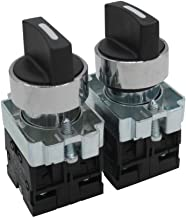 TWTADE / 2Pcs 22mm 2 NO 3 - Positions momentary Rotary Select Selector Switch 440V 10A (Quality Assurance for 3 Years) XB2-20X/33
