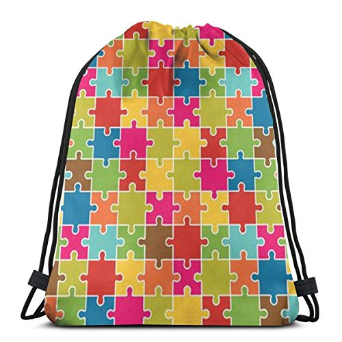 Colorful products Jigsaw Puzzle Pieces Icon Pattern 3D Print Drawstring Backpack Rucksack Shoulder Bags Gym Bag for Adult 16.9