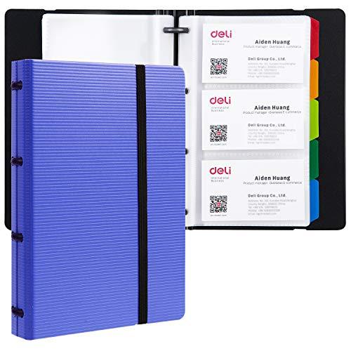 Deli Business Card Book Holder, Journal Business Card Organizer, Name Card Book Holder, Office Business Card Holder, Hold 180 Cards, Blue