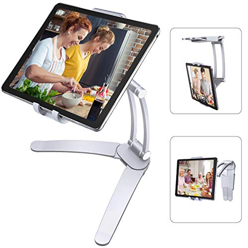 TopCraft Tablet Stand Holder Adjustable, Aluminum Alloy Tablet Wall Mount for 5'-7.5' Screen Width, Such as iPad Mini/iPad Air/Pro 10.5/9.7/Samsung Tabs/Nexus/Nintendo Switch/Kindle - Silver