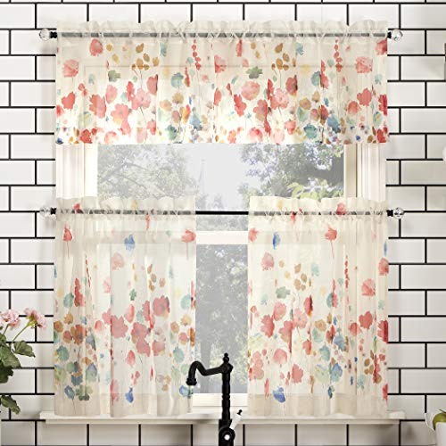 "No. 918 Rosalind Floral Watercolor Semi-Sheer Rod Pocket Kitchen Curtain Valance and Tiers Set, 54"" x 36"" 3-Piece, Poppy Red"