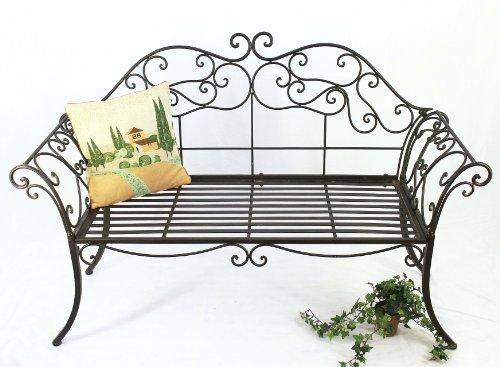DanDiBo Gartenbank 111183 2 Braun Bank 146 cm aus Schmiedeeisen Metall Sitzbank Parkbank - 7
