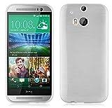 Cadorabo Funda para HTC One M8 en Plata - Cubierta Proteccíon de Silicona TPU Delgada e Flexible con Antichoque - Gel Case Cover Carcasa Ligera