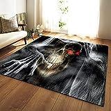 HJKGSX Alfombra de salón Demonio Esqueleto Franela Antideslizante Alfombra Apto para dormitorios y pasillos Cuarto de los niños 100 x 150 cm