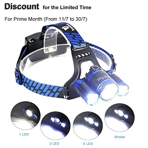 King-Pin Prime Monat LED Stirnlampe Kopflampe - Wiederaufladbare Rotierende Wasserdichter LED Stirnlampe 2000 Lumen 5 Lichtmodi Perfekt für Campen, Wandern, Laufen (Blau)