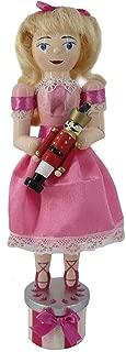 Nutcracker Ballet Clara Girl Figure Doll Ballerina Pretty Pink Dress Wood 10 Inch