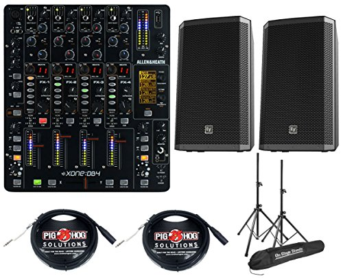 Allen & Heath Xone DB4 DJ Mixer +EV ZLX12P Powered Monitor Pair +Stands & Cables