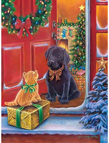 Bits and Pieces 300 Piece Jigsaw Puzzle for Adults 18 x 24 Christmas Surprise 300 pc Kitten product image