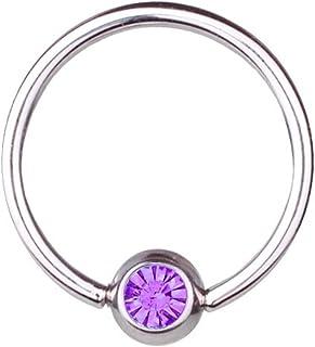 Titanio Piercing BCR, bola y cierre de anillo de 1,2 mm, elementos de SWAROVSKI de color púrpura | 6-12