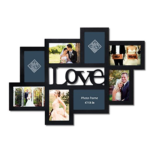 Adeco PF0550 8-Opening Black Wood Love Wall Hanging Photo Frame, 4 by 6,Black