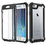 Garegce Coque iPhone 6, Coque iPhone 6s avec [2 x Protecteur d'écran en Verre Trempé], Housse TPU+PC [Antichoc] Transparent 360° Anti-Chute Armure Double Protection for iPhone 6 / 6s-4.7'- Noir