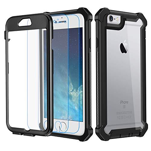 Garegce Coque Compatible avec iPhone 6 / 6s, 2 Pack Protecteur d'écran en Verre Trempé, Transparente PC et TPU Antichoc, 360 Anti Chute Protection Compatible avec iPhone 6, 6s - 4.7pouces - Noir