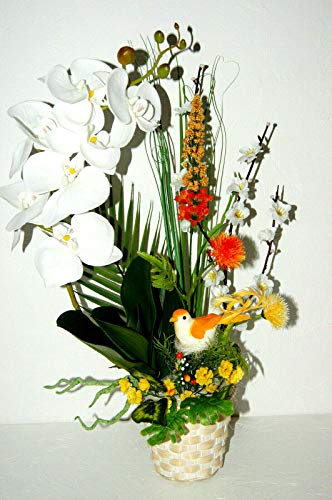 tatjana-land-deko Orchideen im Topf Kunstblume Tischdeko künstliche Blumen Dekoration Dekor K34 (K34 Weiß)