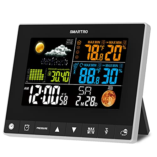 SMARTRO SC93 Weather Station Indoor Outdoor Thermometer Wireless, Accurate Temperature and Humidity Sensor with HD Color Display