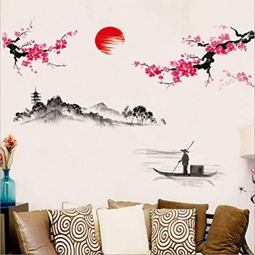 AYJMA Wandsticker Wandtattoo Chinesischen Stil Sakura Japanisch Rosa Kirschblütenbaum Dekor Wandaufkleber Dekor