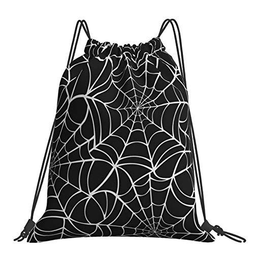 Joaffba Mochila con cordón de Gran Capacidad White Spider Web Halloween Mochila Deportiva fácil de Llevar