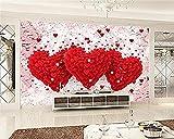 Decoración de la habitación del matrimonio Papel tapiz 3D Amor romántico Corazón Tv Hotel Fondo Papel tap Pared Pintado Papel tapiz Decoración dormitorio Fotomural sala sofá mural-150cm×105cm