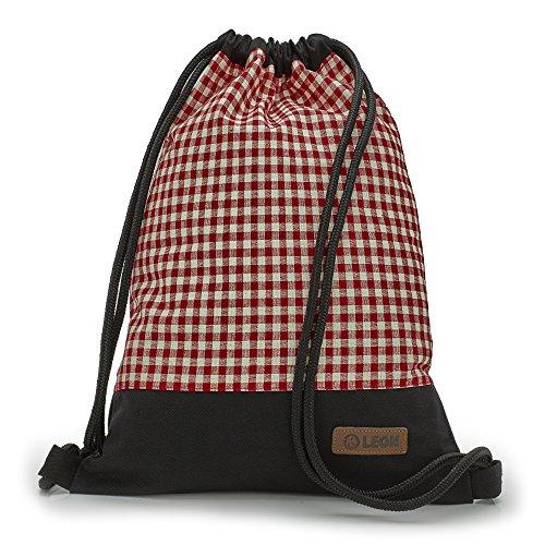 By Bers LEON Turnbeutel mit Innentaschen in Schwarz-Weiß Rucksack Tasche Damen Herren & Teenager Gym Bag Draw String (rot kariert)