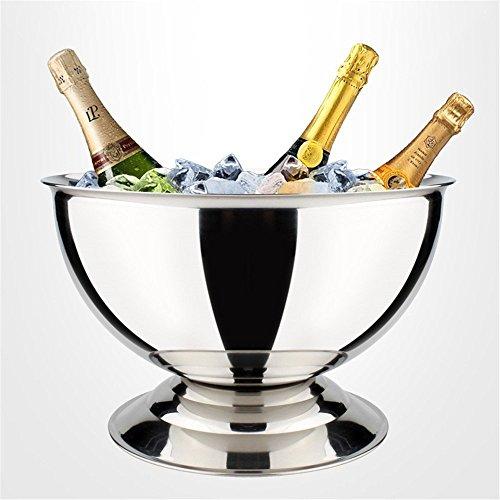 FTC Ice Bucket Piedini Corti earc Champagne in Acciaio Inox Grande Secchiello per Il Ghiaccio Banchetto Bar Champagne Bacino Extra Large Vino Rosso Secchiello per Il Ghiaccio